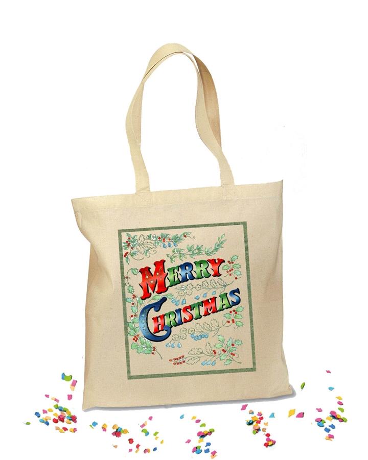 Retro custom holiday tote bag