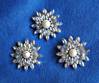 Rhinestone and Faux Pearl Brooch 3 Piece Set