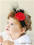 Black Red Velvet Holiday Damask Headband
