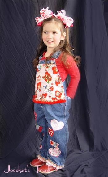 funny valentine overalls