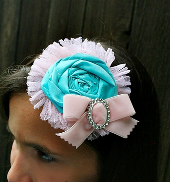 Shabby Tattered Aqua Rose Headband
