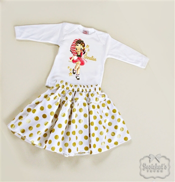 Christmas Retro Girl Gold Dot Skirt Set
