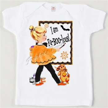 "Retro ""I am Fa-BOO-lous"" Tee Halloween T Shirt"