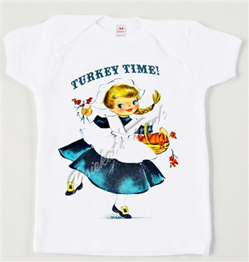Retro Pilgrim Girl Thanksgiving Vintage Tee